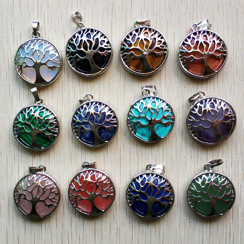 Wholesale 12pcs/lot fashion natural stone alloy tree of life Pendants for jewelry accessories marking free shipping-in Pendants from Jewelry & Accessories