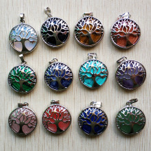 Wholesale 12pcs/lot fashion natural stone alloy tree of life Pendants for jewelry accessories marking free shipping