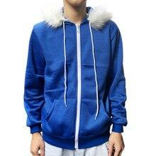 Jacket Men Zipper Slim Outerwear & Coats Winter 2019 Blue Fleece Hooded  Pullover Men's Jacket Costume Warm Sport Coat Q0916