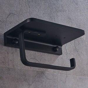 Image 4 - Bathroom Toilet Paper Holder with Mobile Phone Storage Shelf, Tissue Holder Paper Roll Dispenser Wall Mounted Black/Brushed