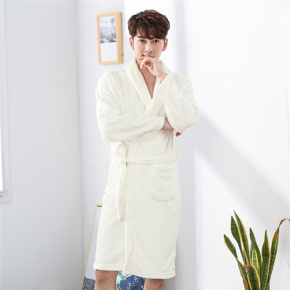 Pocket White Soft Coral Fleece Short Warm Belt Pyjamas Sleepwear Winter Flannel Men Kimono Gown Home Clothing Intimate Lingerie