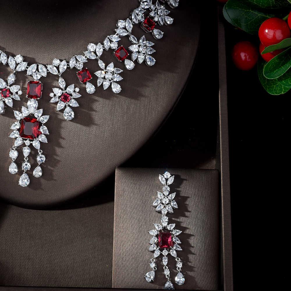 HIBRIDE Elegant ที่มีชื่อเสียง AAA Cubic Zirconia ชุดเครื่องประดับสีแดงสำหรับน้ำหยดน้ำรูปร่างสร้อยคอ bruids sieraden N-891