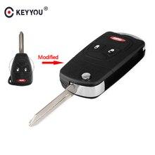 KEYYOU 3 Button Modified Flip Folding Remote Key Shell For Chrysler For Jeep For Dodge Ram 1500 Caliber Nitro Ram 2500 Ram 3500