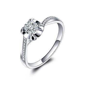 18k White Gold Platinum  Gold Diamond Engagement Ring