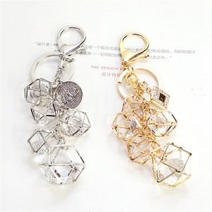 Elegant Crystal Rhinestone Geometric Keychain For Women Girls Gold Color Metal Car Key Rings Creative Fashion Jewelry Gift Q-005