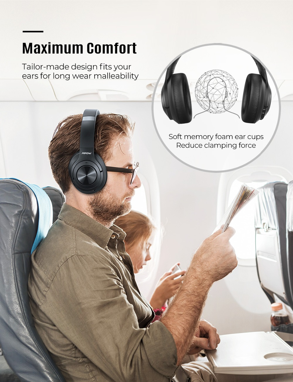 Mpow H21 Wireless Headphone Bluetooth 5.0 Noise Cancelling Headphone With 40 Hours Playtime CVC6.0 Mic Deep Bass For PC Phone (6)