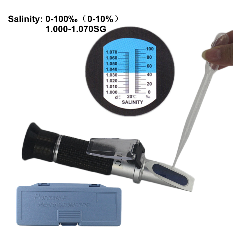 0-10% Aquarium Salinity Refractometer Hydrometer 1.000-1.040SG Refratometro Salt Sea Water Meter Mornitor Tester Professional