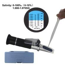 цена на 0-10% Aquarium Salinity Refractometer Hydrometer 1.000-1.040SG Refratometro Salt Sea Water Meter Mornitor Tester Professional