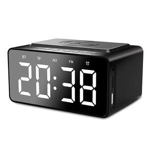 Wyświetlacz LED cichy bezprzewodowy ładowanie Stereo sypialnia wielofunkcyjny wejście AUX cyfrowy budzik pulpit głośnik Bluetooth