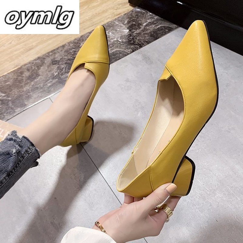 Women Leather Pumps Med Chunky Square Heel Pointed Toe Slip On Party Office Daily Weekly Shoes Cozy All Match