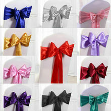 25pc Wedding Satin Chair Sashes Party Chairs Bands Gold Pink Chair Knot Cover Decoration Chairs Bow For Chair Decoration Banquet