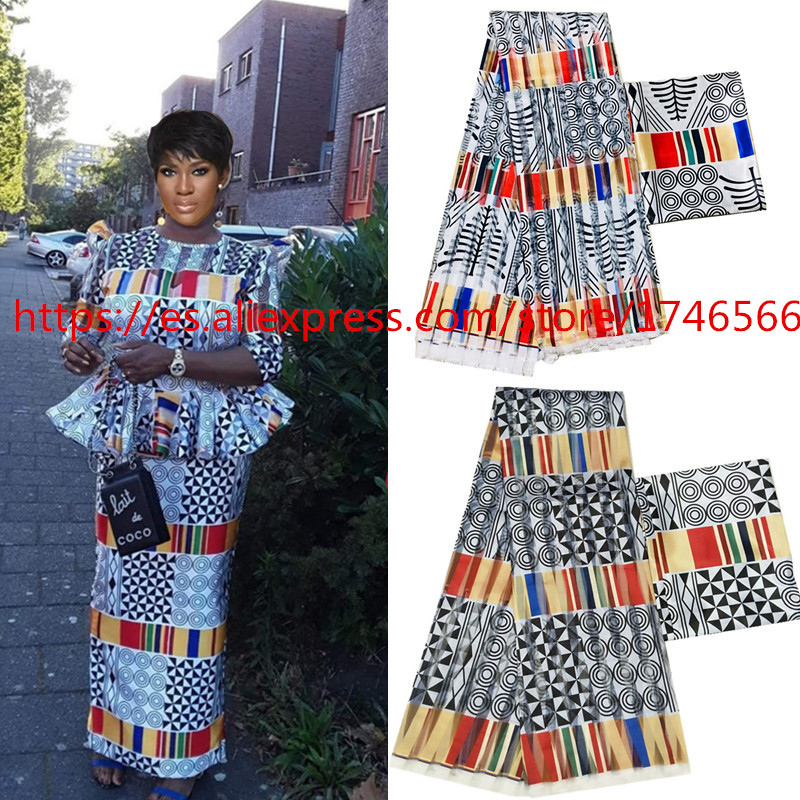 New African silk wax fabric Digital printing satin wax fabric for dress African wax silk fabric with chiffon set for party dress