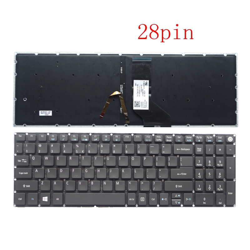 New for Acer Aspire 5 A515 51 A515 51G A517 A517 51 5832 A517 51G A517 51G 52LB Keyboard English US backlit backlight 28 pin|Replacement Keyboards| |  - title=