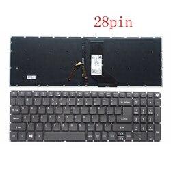 Nowy dla Acer Aspire 5 A515 51 A515 51G A517 A517 51 5832 A517 51G A517 51G 52LB klawiatura angielski usa podświetlany podświetlenie 28 pin w Zamienne klawiatury od Komputer i biuro na