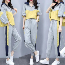 Two Piece Sets Outfits Tracksuits for Women Plus Size Hooded Tops And wide Pants Suits 2019 Spring Autumn Fashion Loose