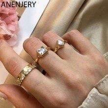 ANENJERY 925 Sterling Silber Quadrat Oval Shaped Zirkon Ringe für Frauen Gold Französisch Stil Offene Ringe Schmuck S-R303
