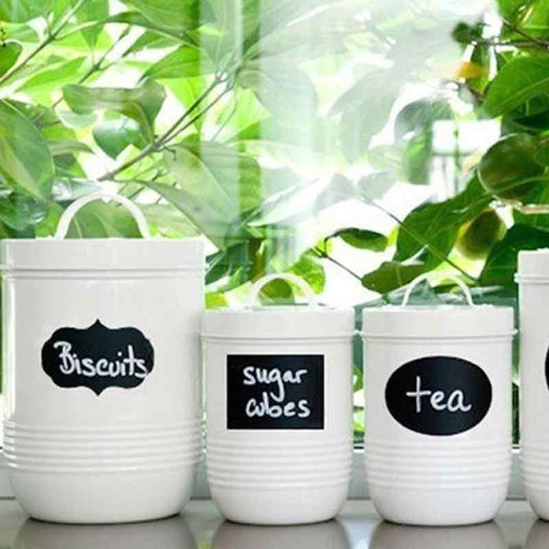 40 PCS Tahan Air Mason Sugar Bowl Black Papan DIY Dapur Selai Botol Label Papan Tulis Botol Dekorasi Dinding Rumah