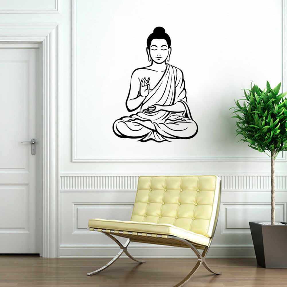 60 x 42.5cm Meditating Buddha Art Wall Stickers Mural Home Decor Design Buddhism Decal Removable Vinyl Sticker Home Wallpaper