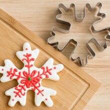 Acier inoxydable flocon de neige emporte-pièces Biscuit gaufrage moule pain noël neige forme moule gâteau estampage outils de décoration