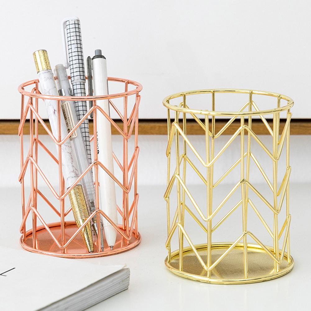 Round Desktop Metal Pen Makeup Brushes Holder Storage Box Container Organizer Desk Stationery Decor
