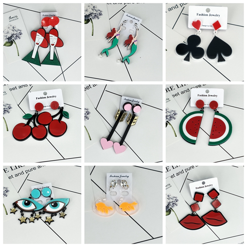 Женские длинные серьги в Корейском стиле, геометрические акриловые висячие серьги с большими сердечками и кисточками в виде губ, ювелирные ...