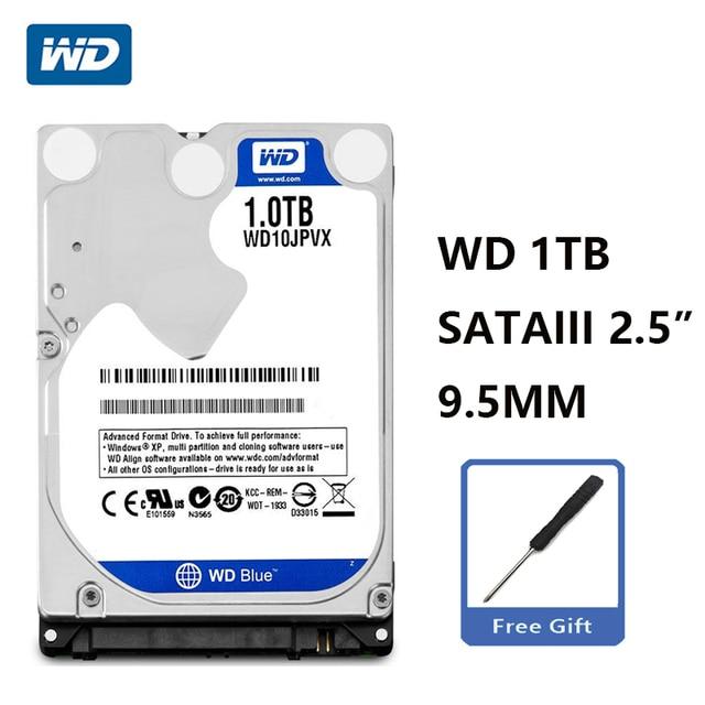 """WD Blu 1TB 2.5 """"SATA III Interno Hard Disk Drive 1000Gb HDD HD Hard Disk 6 Gb/s 8M 9.5mm 5400 RPM WD10JPVX per il Taccuino Del Computer Portatile"""