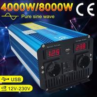 Remote Control Pure Sine Wave Inverter DC 12V to AC 220V 230V 50Hz LED Voltage Display 5000W/6000W/8000W Car Inverter EU Socket