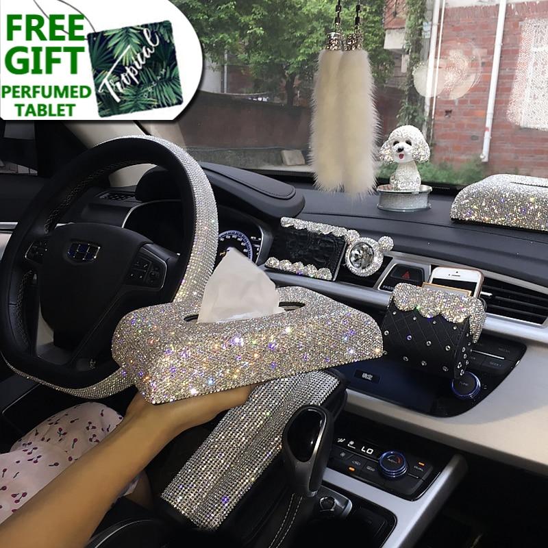 Creative Bling Crystal Diamond Car Ornaments Decoration Car Tissue Box Paper Holder Storage Rhinestone Car Interior Accessories