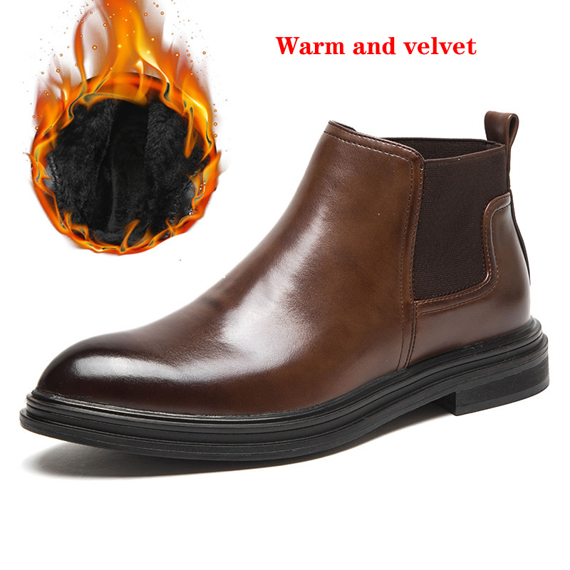 Top Quality Men Snow Boots 2019 Winter Microfiber Leather  Ankle Boots Handmade Brand Warm Men Winter Shoes
