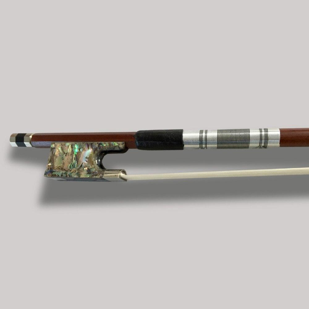 Alto grado violín arco Arbor CRIN Brasil madera ébano Rana coloreado cáscara abulón Violino 4/4 partes bien balanceadas