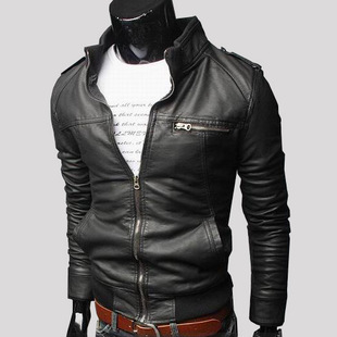 New Style Locomotive Transverse Zipper Short Slim Fit Leather Coat Men's Stand Collar Casual Washing Locomotive Leather Coat Y93