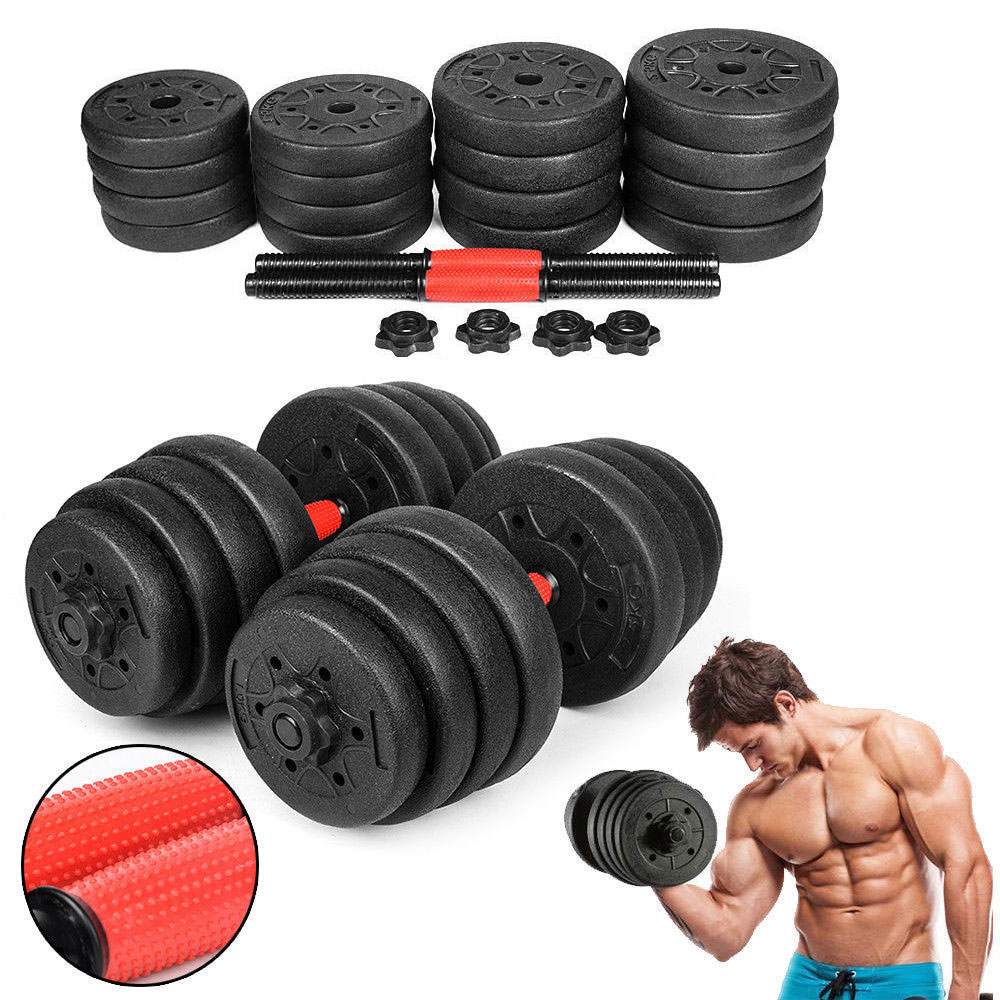 22PCS PE Material Weight Dumbbell Set Adjustable Cap Gym Barbell Plates Rubber-Coated Dumbbells Sand Filling Fitness Equipment