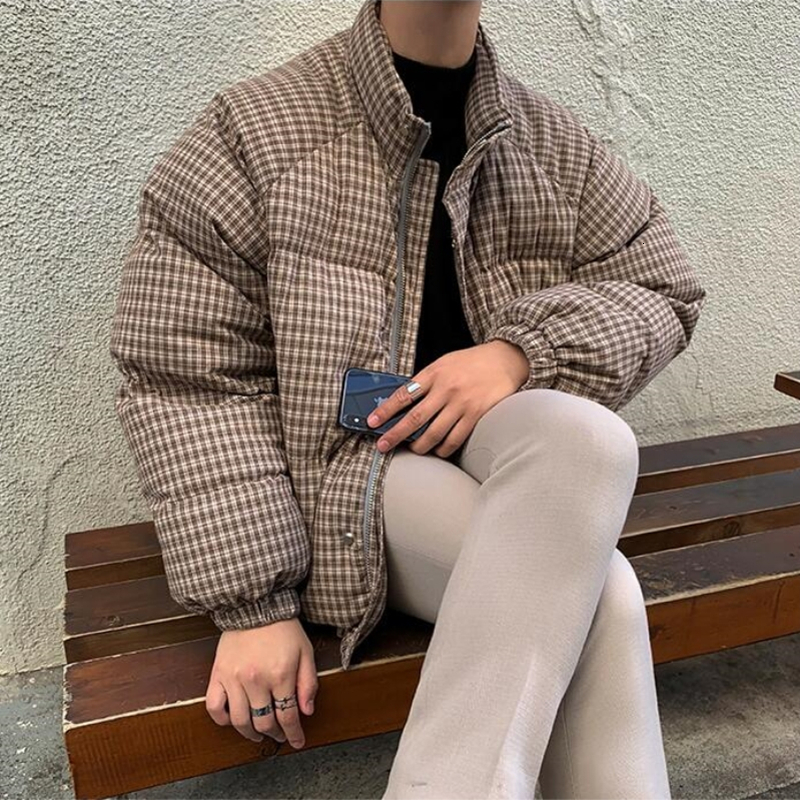 2019 Winter New Youth Korean Version Of The Men's Collar Plaid Cotton Students Thick Warm Fashion Casual Jacket Coat Tide Brown