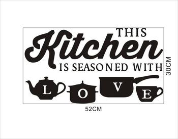 Kitchen Wall Stickers Vinyl Wall Decals for Kitchen English Quote Home Decor Art Decorative Stickers PVC Dining Room For Bar PVC 31