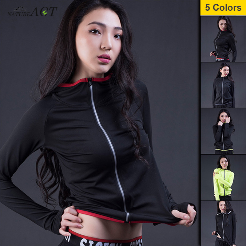 Women's Long Sleeve Compression Quick-Dry Running Hoodie Yoga Gym Sweatshirt Fitness Tight Tops  Breathable Sports Jacket