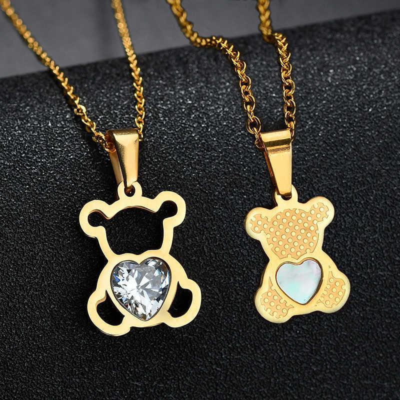 チャーム中空キュービックジルコンクマチェーンネックレス女性ゴールドカラー動物のネックレスの宝石類のギフト.us ステートメントネックレス