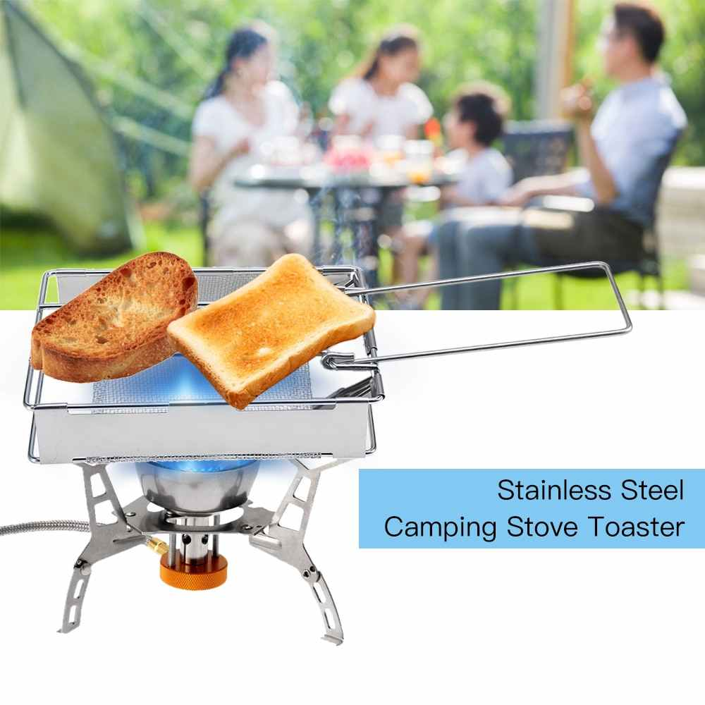Stainless Steel Camp Stove Toaster Outdoor Camping Hiking Picnic Bread Toaster Camping Stove Accessories