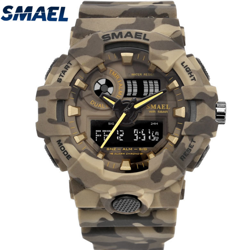SMAEL 8001M Sports Watch Male Camouflage Military Quartz Watches Luxury Brand Waterproof LED Dual time men Digital wristWatch