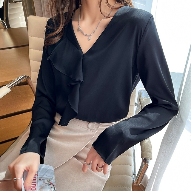 Spring Chiffon Ruffle Blouse Women Fashion V-neck Long Sleeve Top Solid Color Shirts Blouses Blusas 2