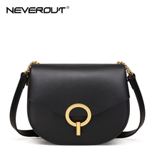 NEVEROUT Crossbody Bags for Women Shoulder Bag Soft Leather Messenger Casual Metal Round Lock Handbag Party Saddle