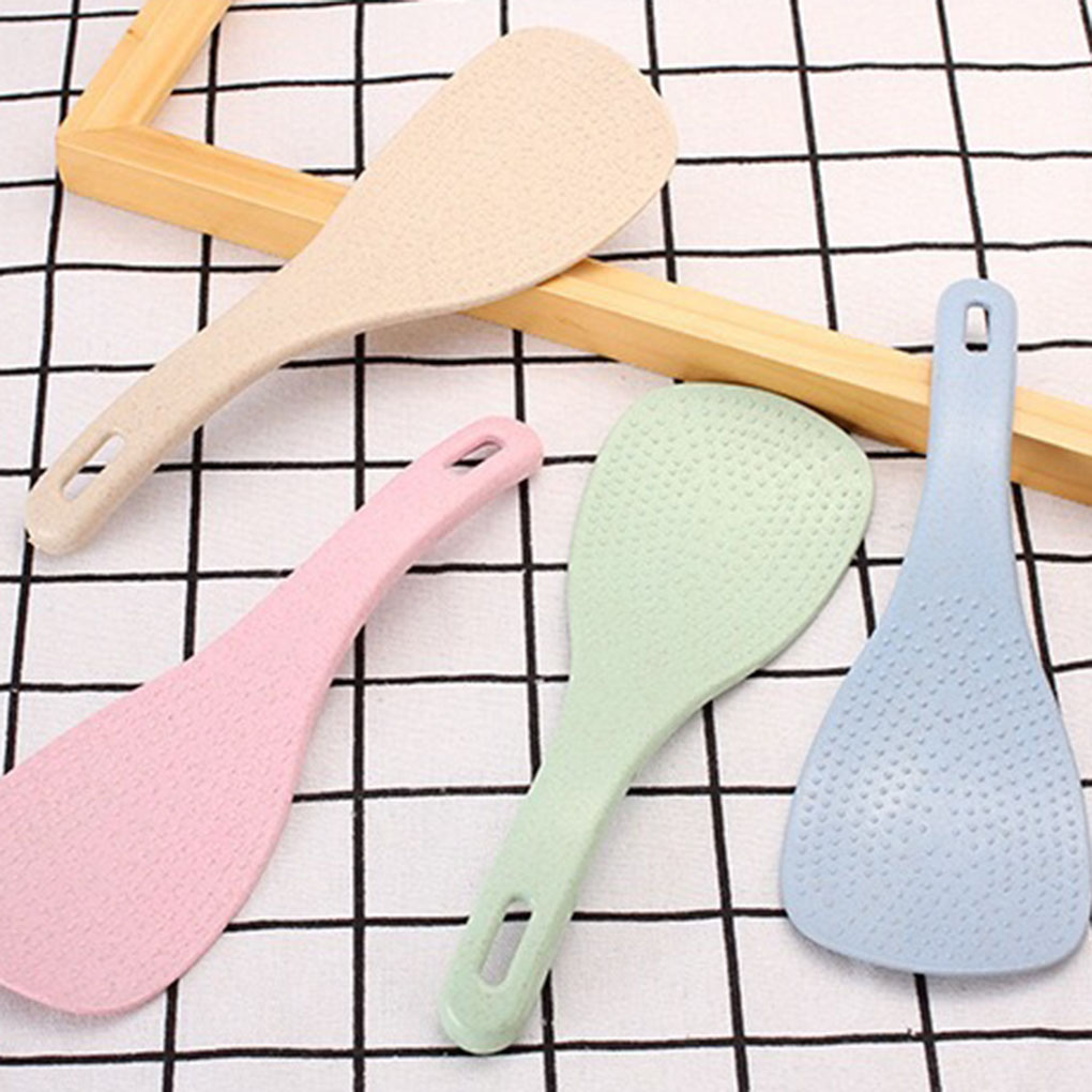 Wheat Straw Large Spoon Rice Paddle Scoop Non stick Ladle Kitchen Table Serving Accessories Rice Scoop     - title=