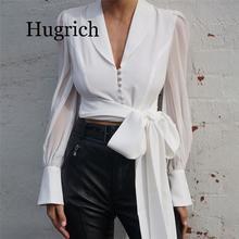 2020 Autumn Women Chiffon Blouse Shirt Lace Up Long Sleeve Solid White Ladies Blouse For Women Female