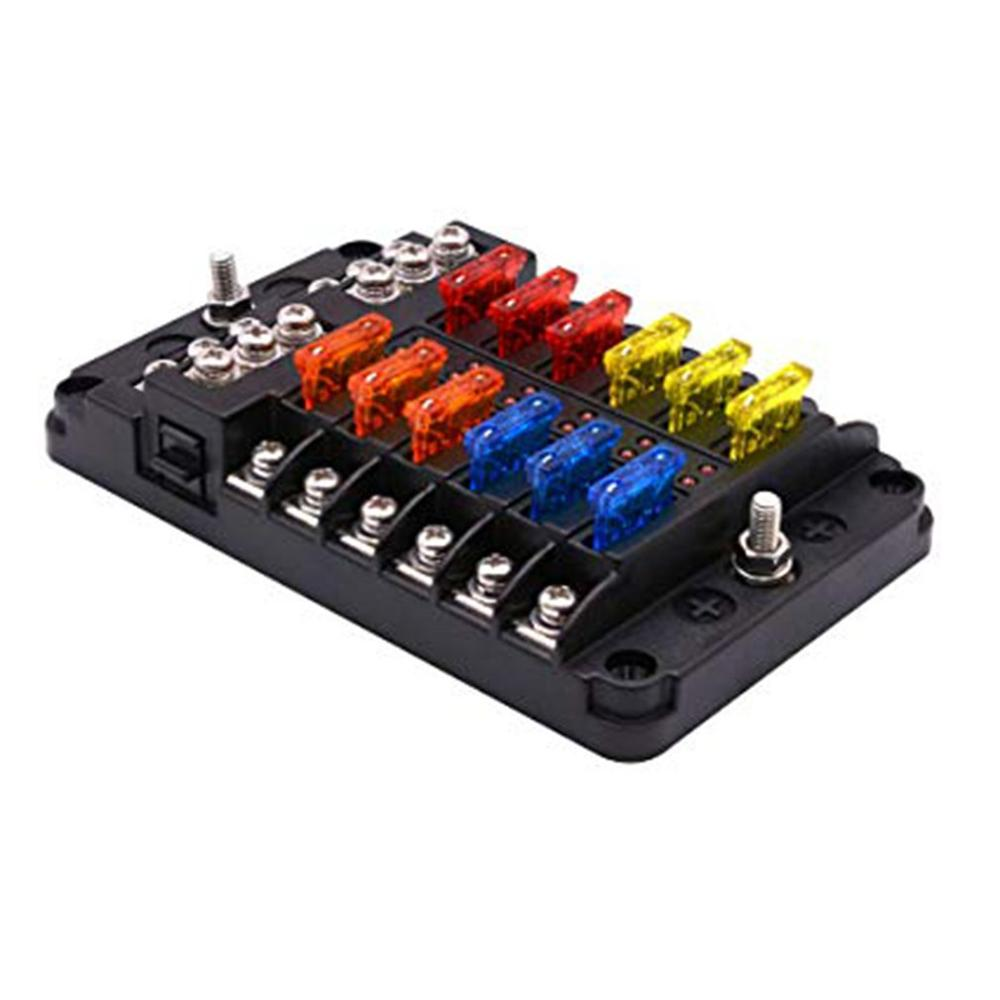12 Way Car Fuse Box 1 In 12 Out Car Fuse Box Universal Automative Fuse Box  With LED Indicator Portable Car Fuse Box|Fuses| - AliExpressAliExpress