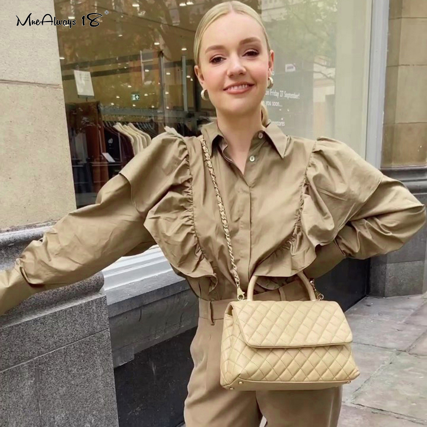Mnealways18 Vintage Ruffle Blouse Women Long Sleeve Casual Frill Top Khaki Button Cotton Shirts Ladies Office Blouse Spring 2020