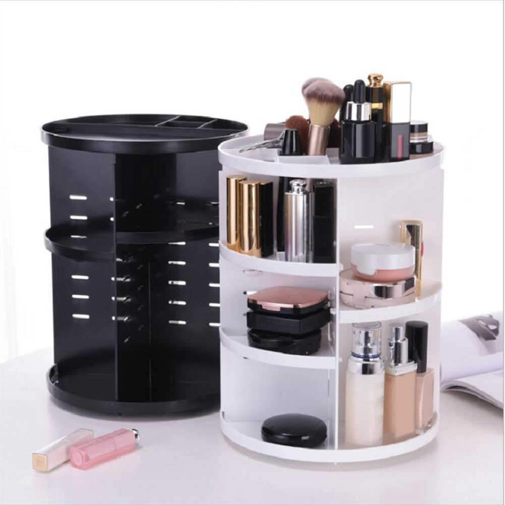 360-degree Rotating Makeup Organizer Drawer Brush Holder Jewelry Organizer Case Makeup Cosmetic Storage Box with pillbox gift