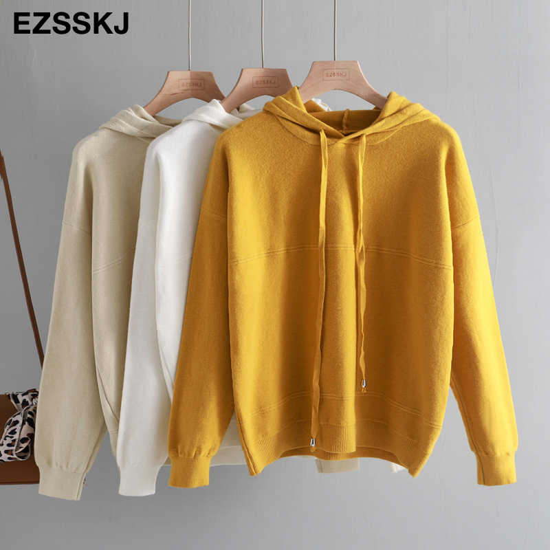 2019 new autumn winter cashmere hooded thick sweater pullovers women soft knit jumper top solid sweater female long sleeve