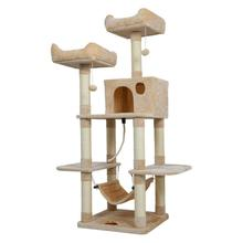 Cat Scratching Posts Tree Toy Room and Hammock Frame Kitten Furniture House Condo Hanging Two Platforms C03