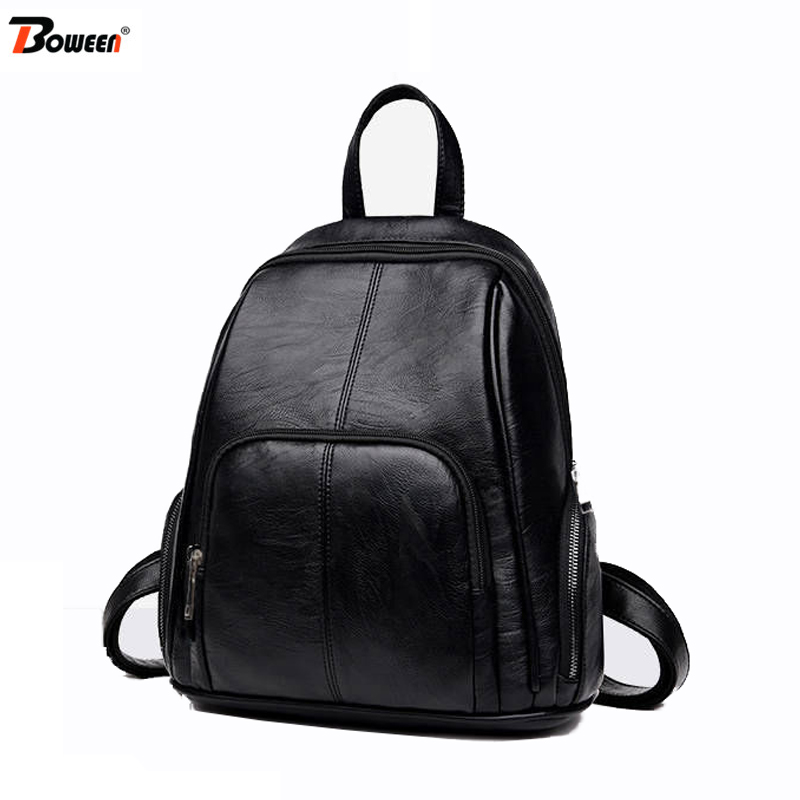 Design Pu Leather Backpack Women Backpacks Female Small Black Soft Back Pack Solid Simple Youth Bagpack For Teenage Girls