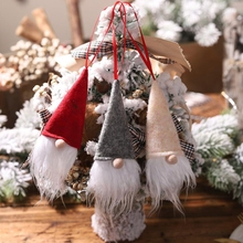 1pcs 2019 new Christmas faceless doll small pendant wine bottle set cover tree decoration scene layout