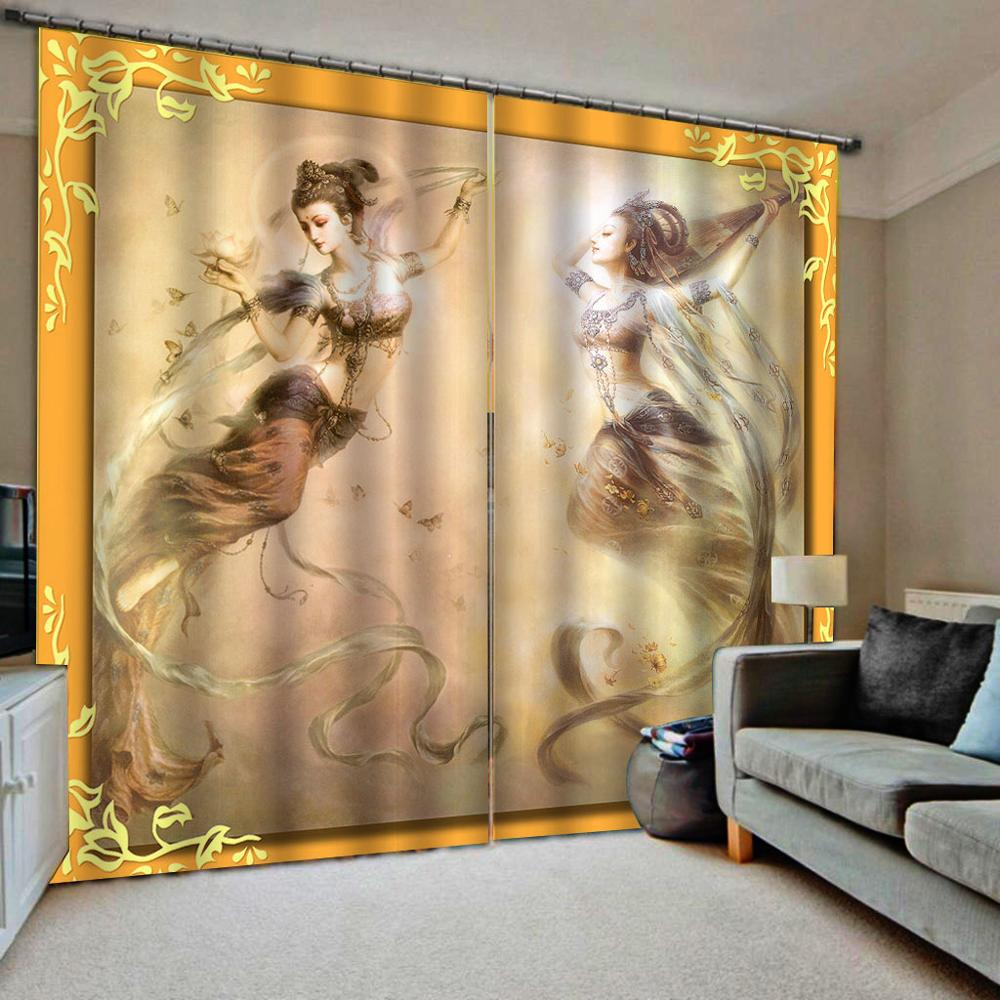 Beauty 3D Curtains Living Room Bedroom Drapes Cortinas Customized Size  Yellow Curtains